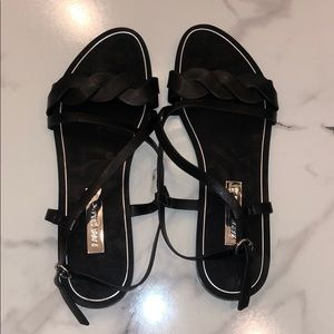 Zara black leather sandals